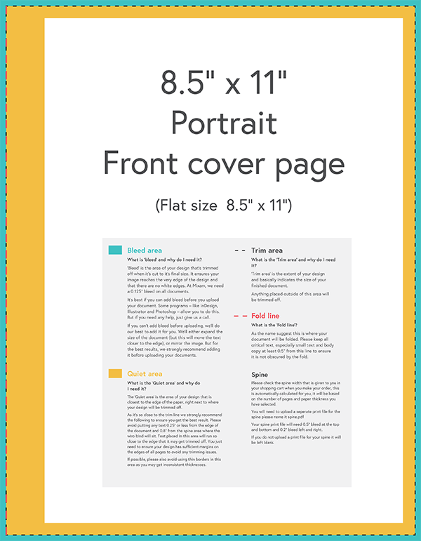 Hardcover template with large bleed area
