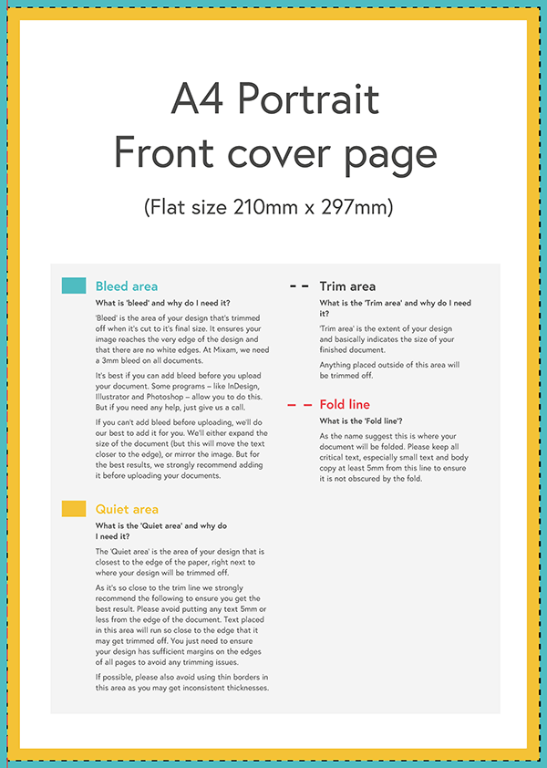 Print file template with bleed area