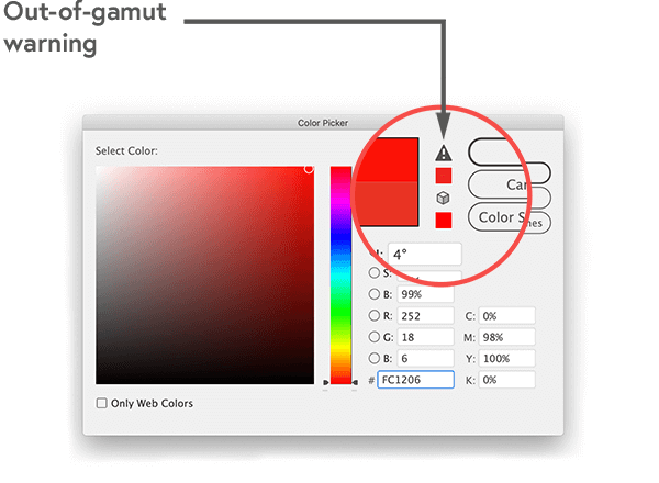 Out of gamut warning in Adobe creative tools
