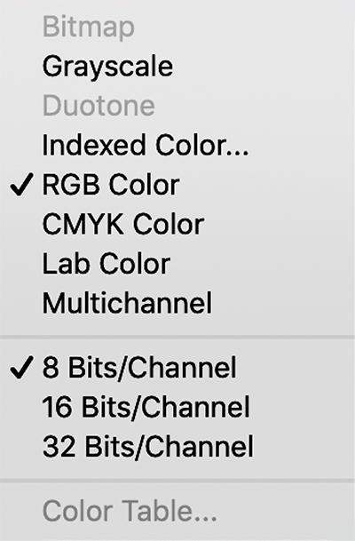 Colour model menu options