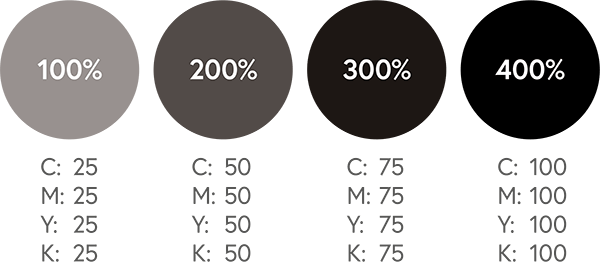 Several degrees of ink saturation shown in black