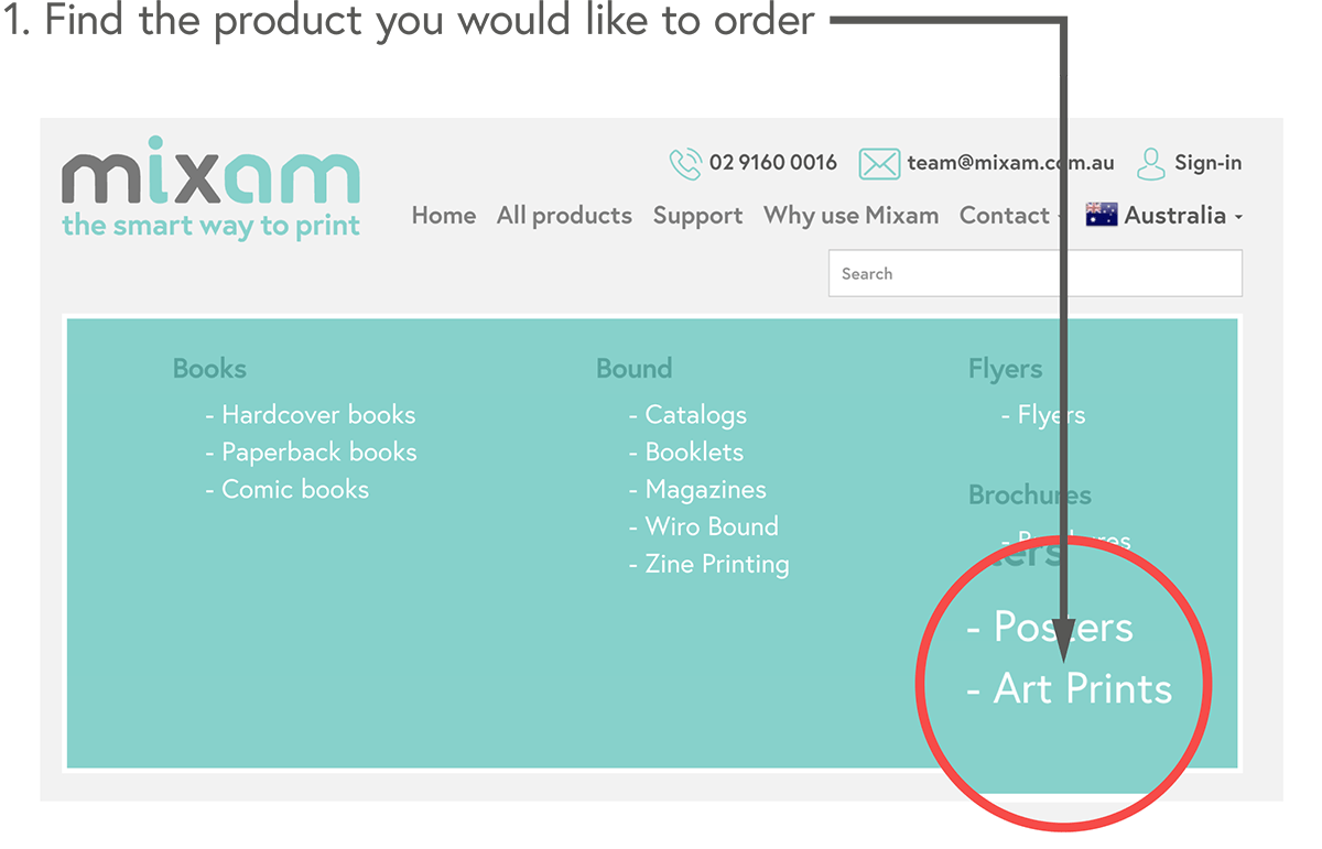 Find the product you would like to order