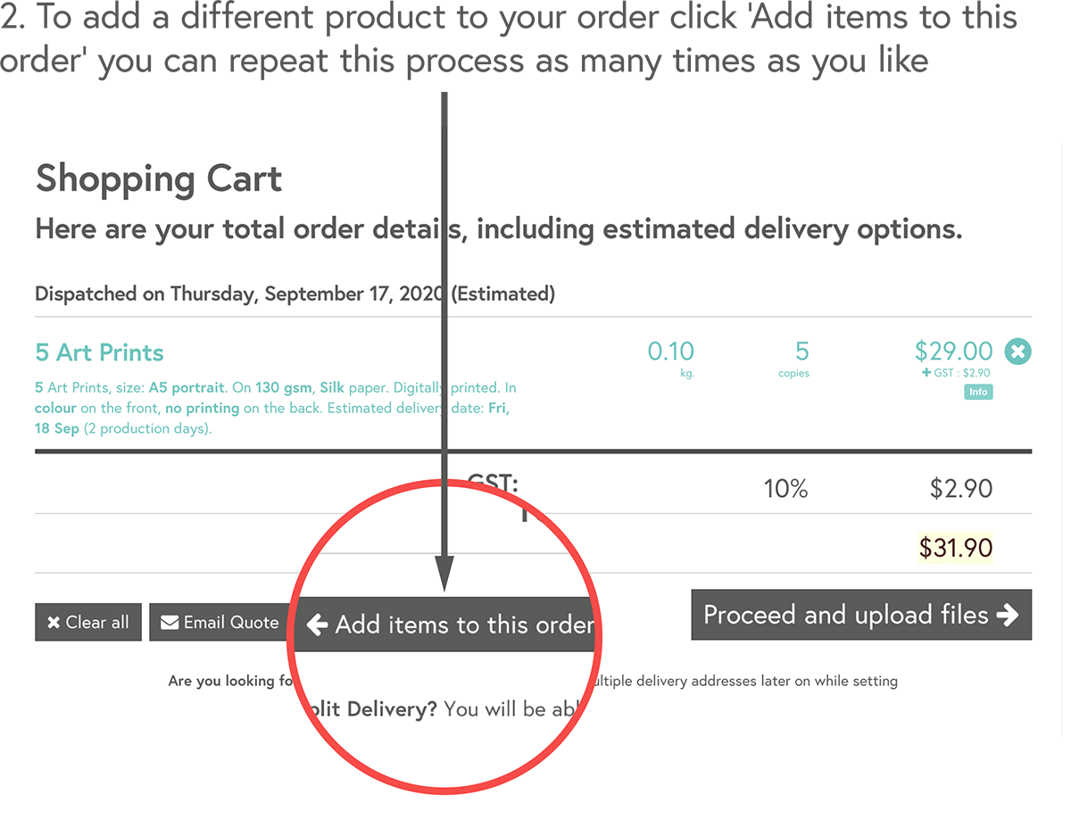 To add a different product to your order click 'Add items to this order' you can repeat this process as many times as you like