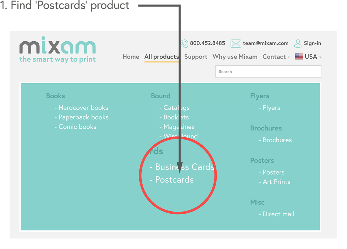 Find the 'Postcards' product page under 'All Products'