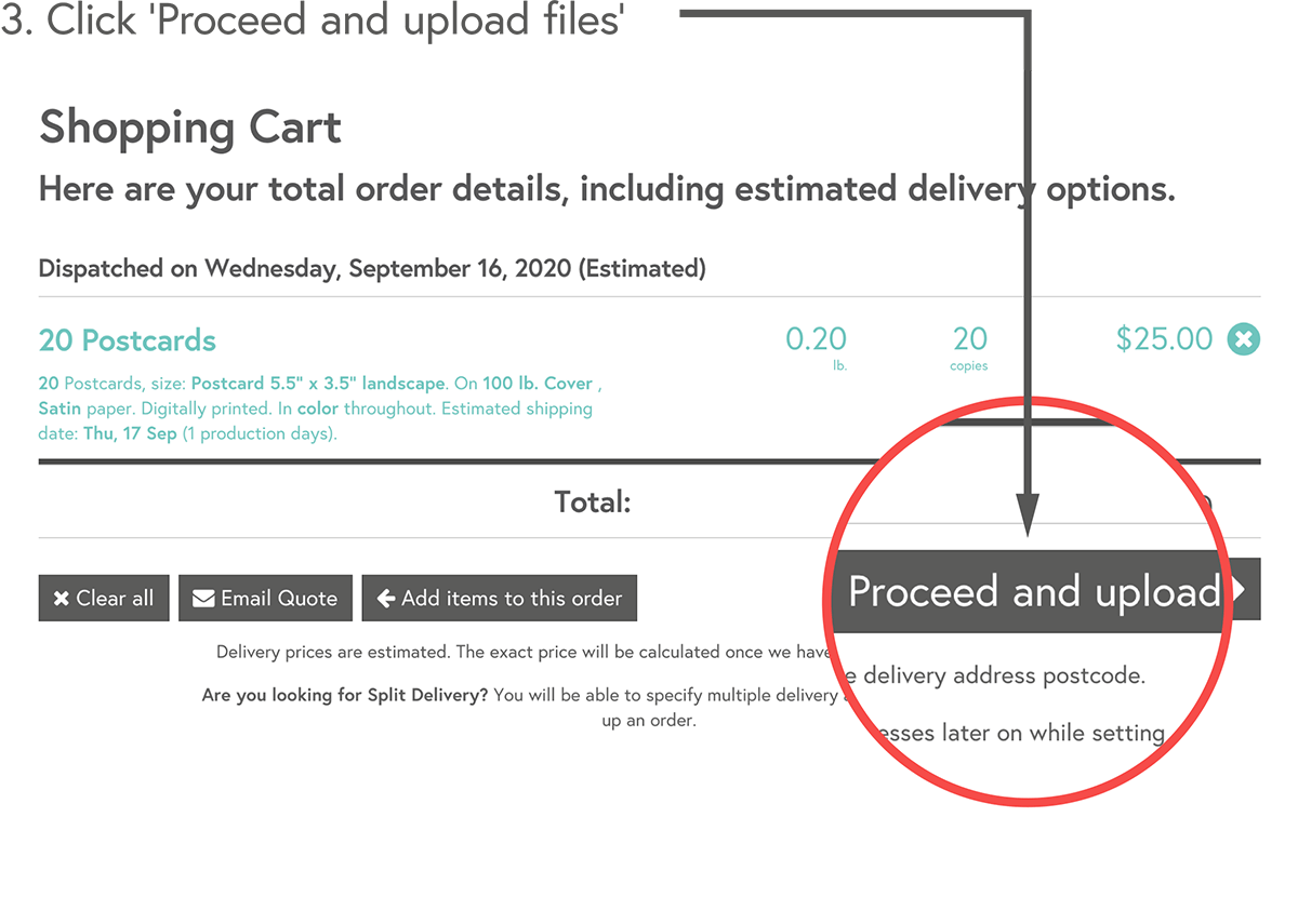 Click 'Proceed and upload files'
