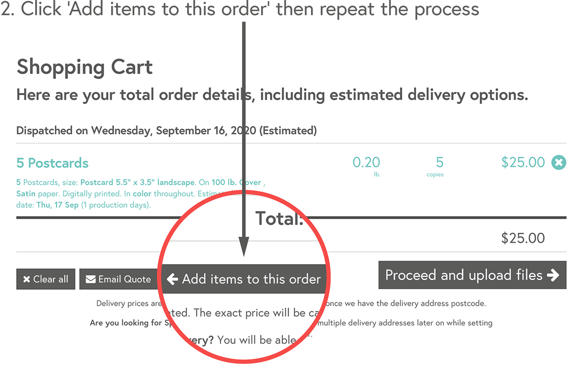 Click 'Add items to this order' then repeat the process
