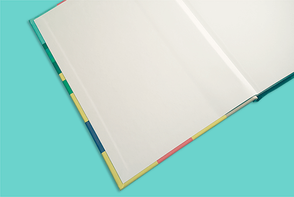 White endpapers in a hardcover book