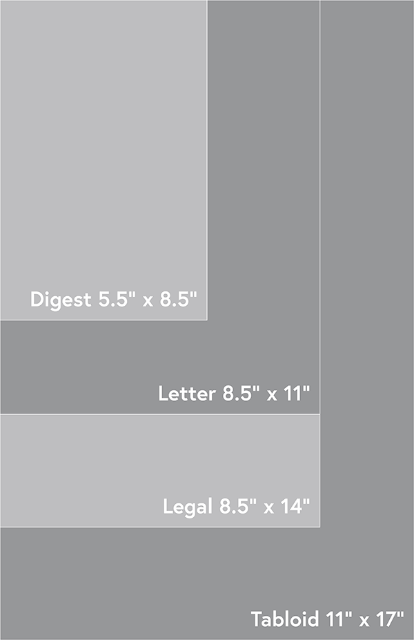 Standard US paper sizes from Tabloid (11