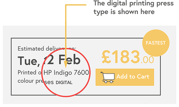 Digital printing press shown with price