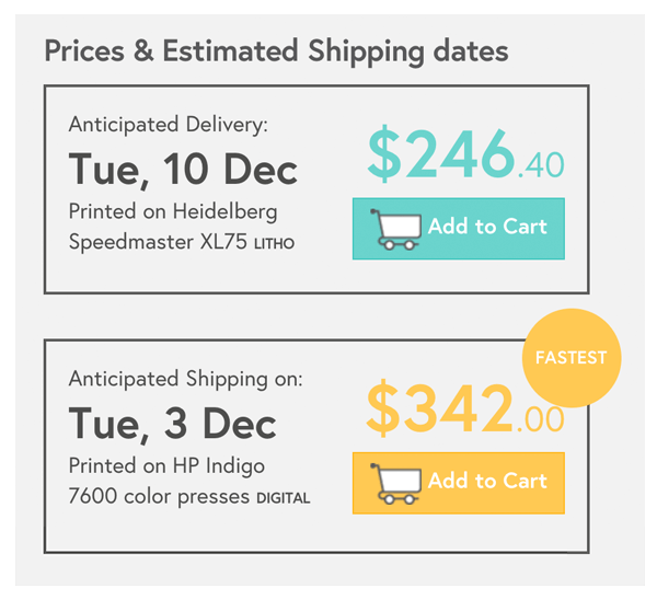 Prices & estimated delivery dates