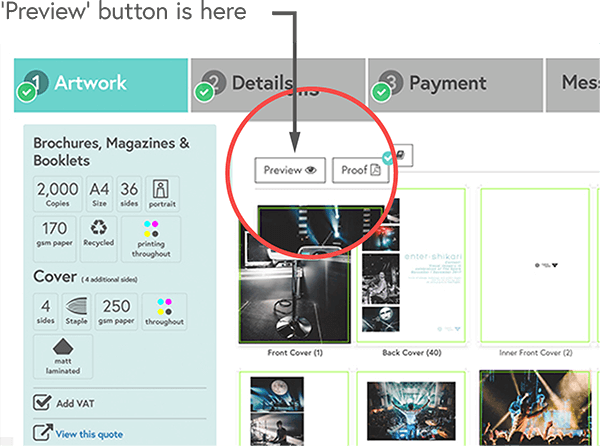 The 'Preview' button in the Mixam Artwork Dashboard