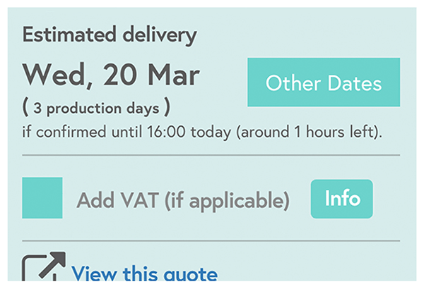Estimated delivery displayed on the order screen