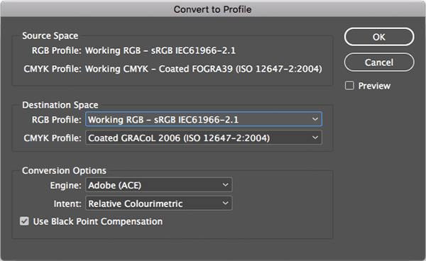 Convert colour profile in Photoshop