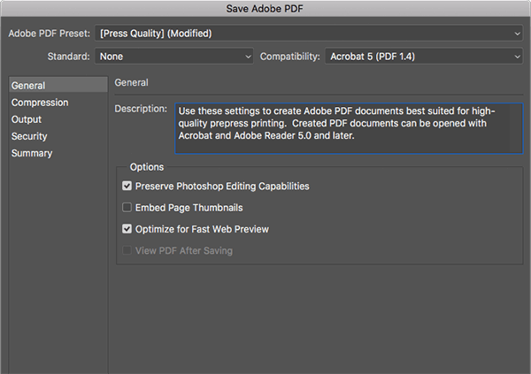 Select 'Press Quality' in Photoshop